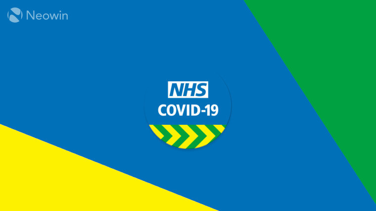 The NHS COVID-19 contact tracing logo on a yellow, blue, and green background