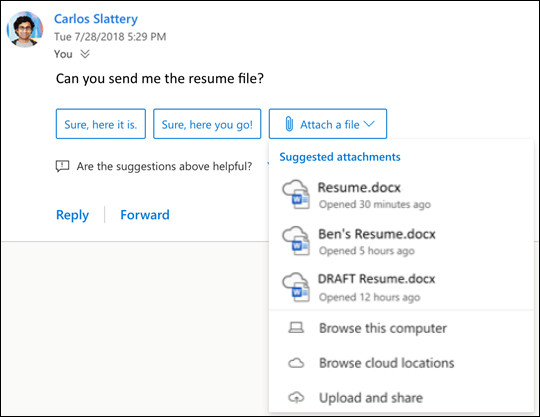 Suggested replies in Outlook on the web