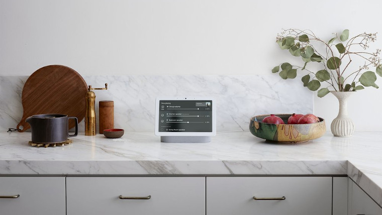 The Google Nest Hub of a surface counter