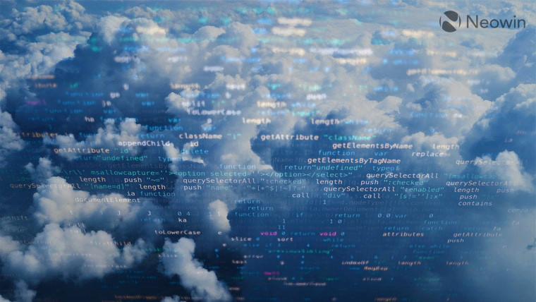 Clouds with transparent code overlaid