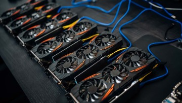A row of six GPUs which are being used to mine cryptocurrency