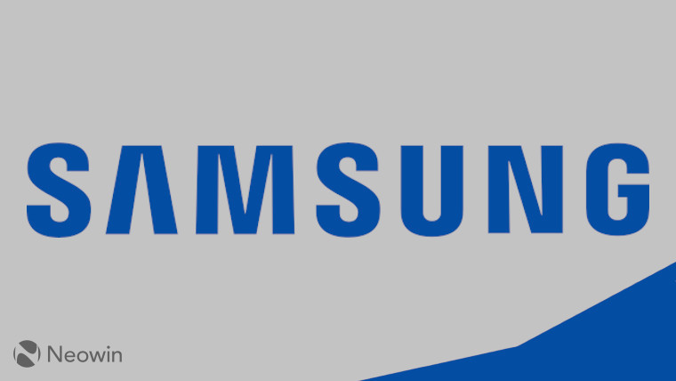 The Samsung logo on a silver and blue background