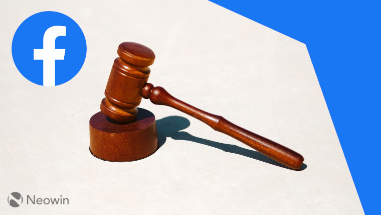 Facebook logo next to a wooden hammer used in courts