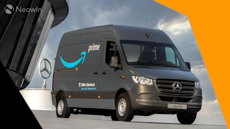 An Amazon delivery van