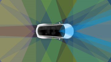 A Tesla graphic showing how autopilot works