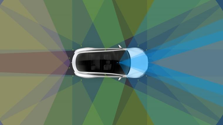 A Tesla graphic showing how autopilot works