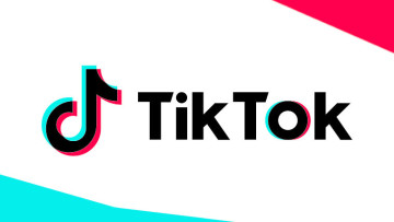 The TikTok logo on a white, red and blue background