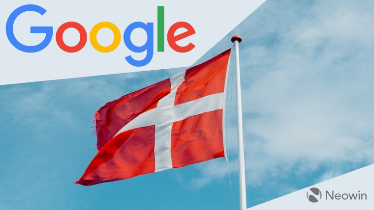 The Google logo and Danish flag
