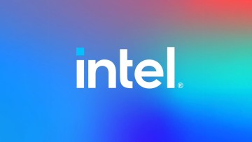 Intel logo on multi-colored background
