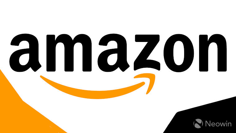 Amazon logo on an orange, black, and white background