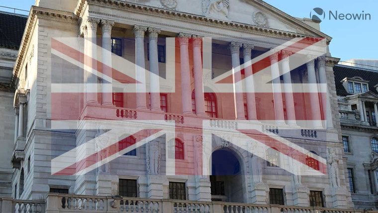 The Bank of England with a Union Jack in front
