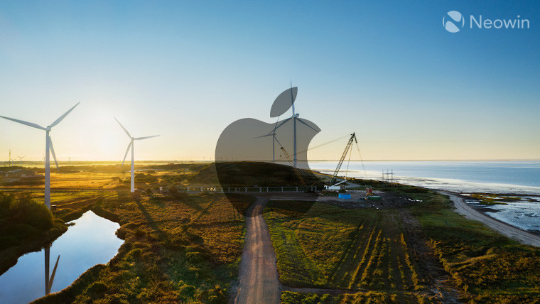 Wind turbines with an Apple logo overlay