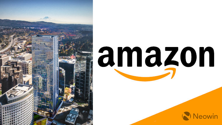 The Amazon logo next to a render of 555 Tower