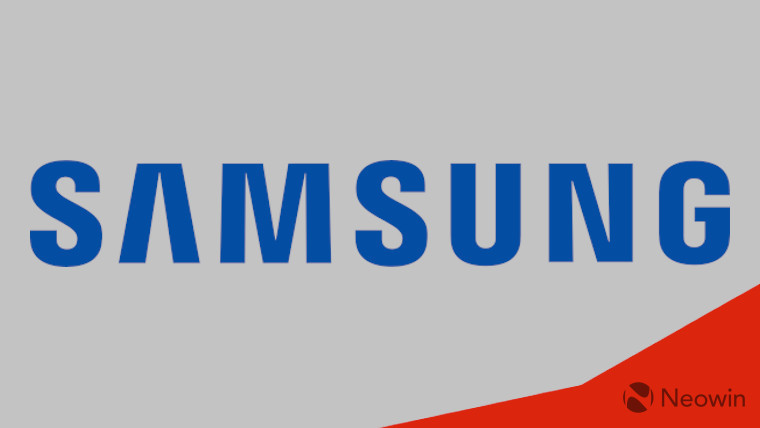 Samsung logo on a grey and red background