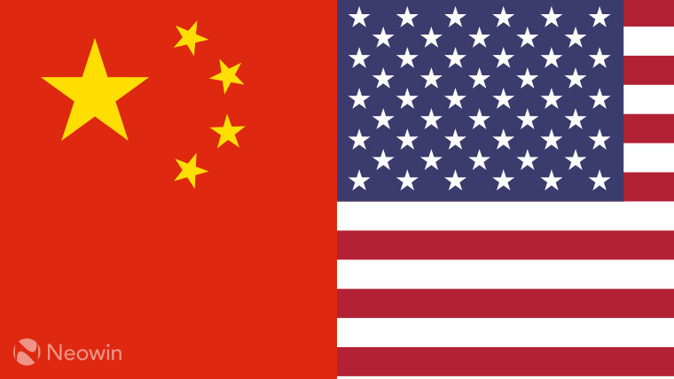 The Chinese and U.S. flags