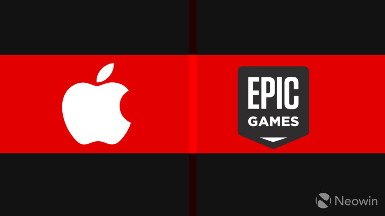 Apple and Epic Games logos on a red background