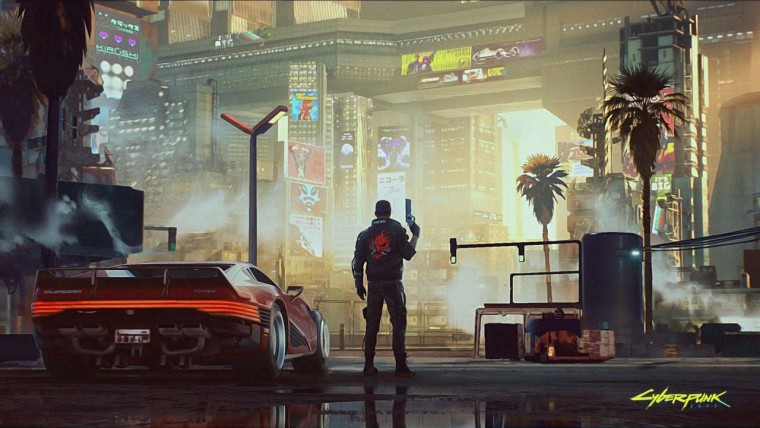 Cyberpunk 2077 concept art showing V and Night City