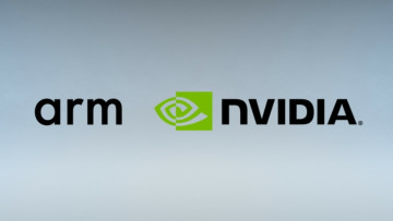 The logos of ARM and Nvidia on a grayish background