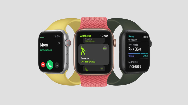 Three Apple Watch SE devices on a grey background