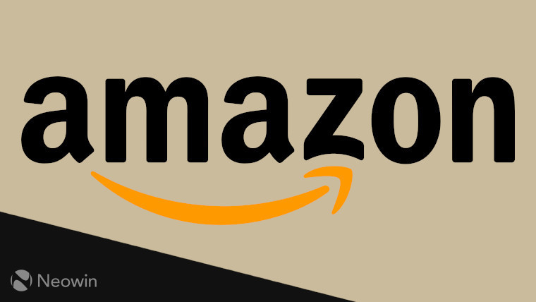 Amazon logo on a gold and black background