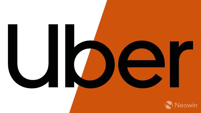 The Uber logo on a white and orange background