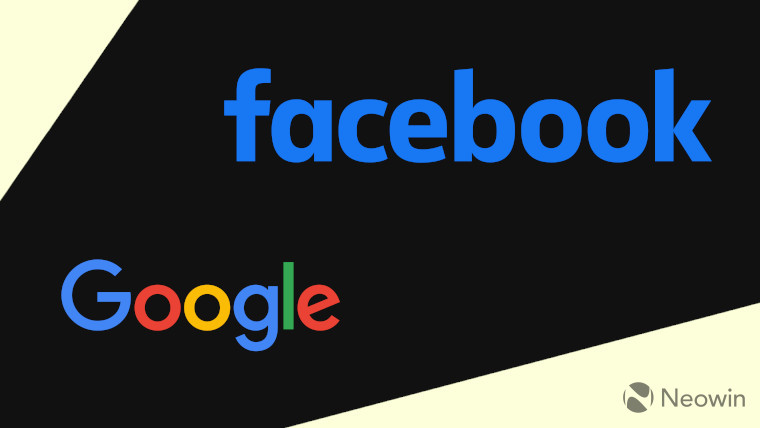 Google and Facebook logos on a dark and light background