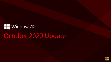 Windows 10 October 2020 Update on a red background