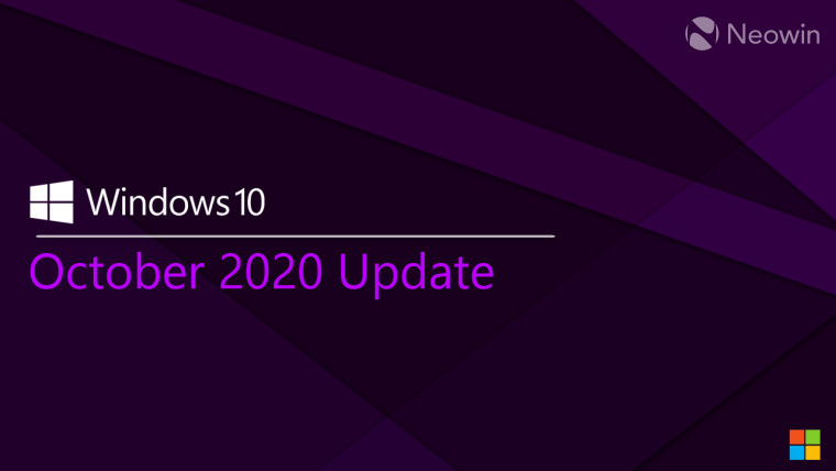 Windows 10 October 2020 Update text on a purple background