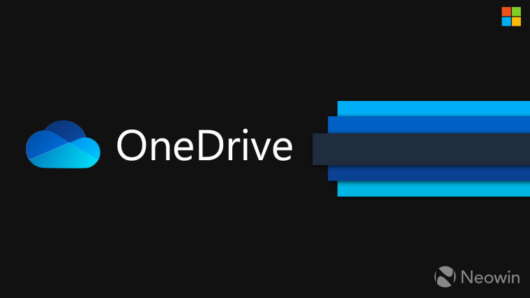OneDrive text and logo with black and blue background