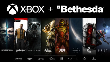 Xbox and Bethesda logos above art representing multiple Bethesda games