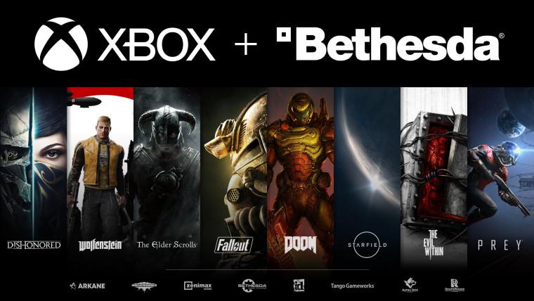 Xbox and Bethesda logos above art representing multiple Bethesda games