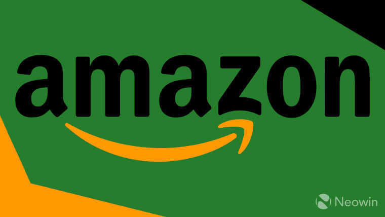 Amazon logo on a green, black, and orange background