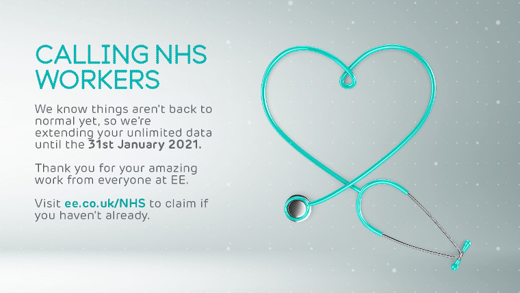 EE's poster advertising unlimited data for NHS workers