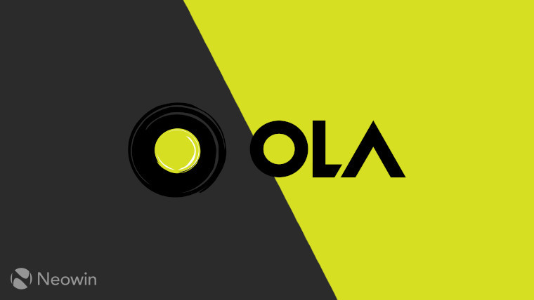 The Ola logo on a black and lime-yellow background