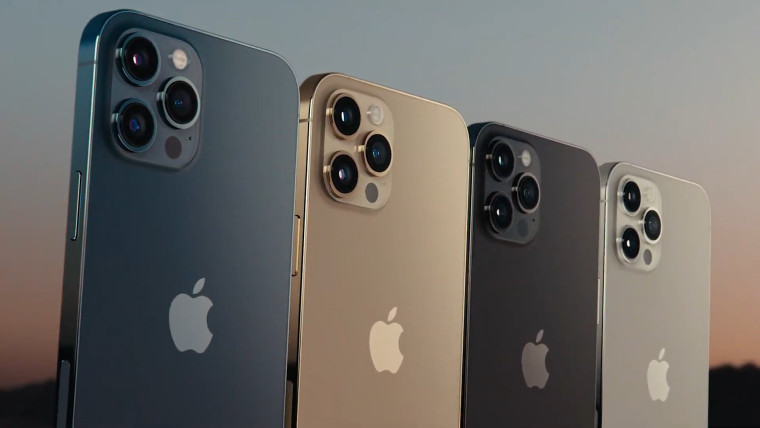 A graphic showing iPhone 12 Pro in multiple colors