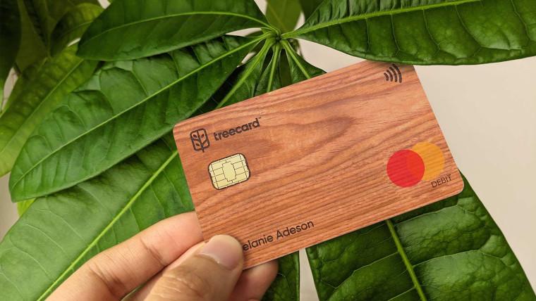 A TreeCard made of FSC cherry wood