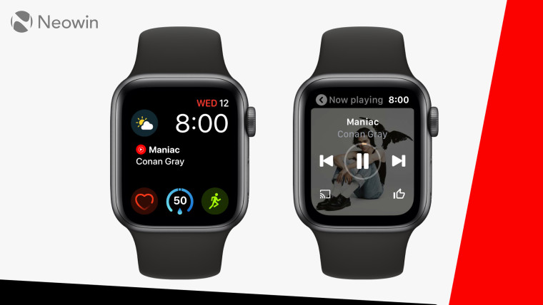 The YouTube Music app on an Apple Watch. The background is red, black, and white.