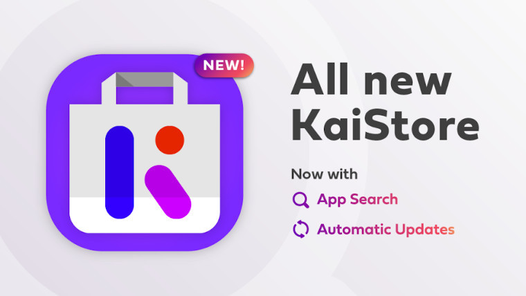The KaiStore logo next to a list of new features in the latest update