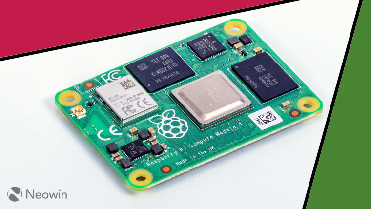 The Raspberry Pi Compute Module 4 on a white, green, and raspberry red background