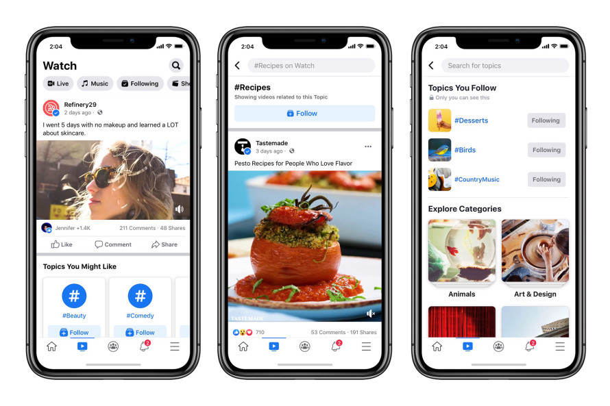 Facebook Watch now allows users personalise their video feed with topics