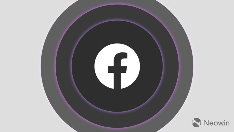 The Facebook logo surrounded by grey rings on a light grey background