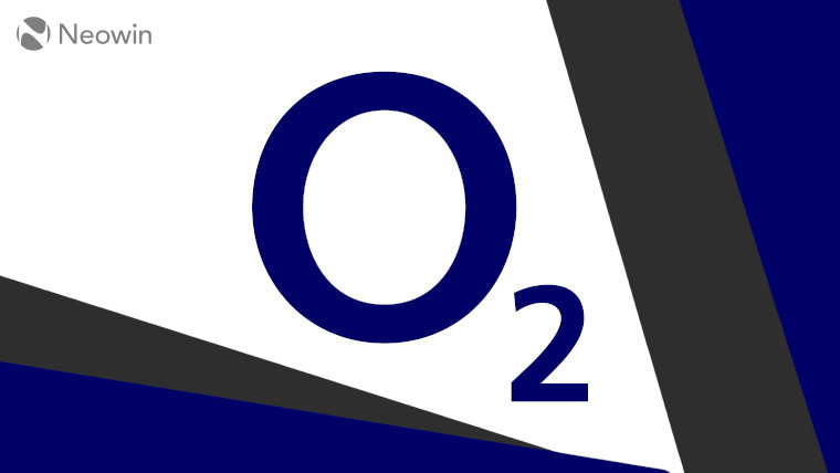 The O2 logo on a grey, blue, and white background