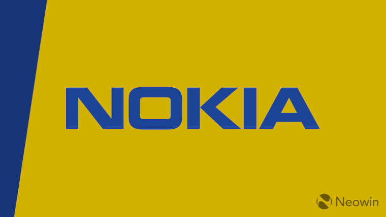 The Nokia logo on a yellow and blue background