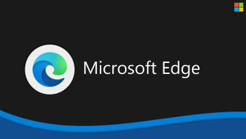 Microsoft Edge logo and name against a dark background