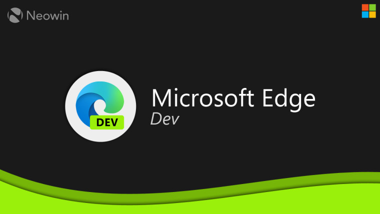 Microsoft Edge Dev logo and text on a dark background above a green wave design