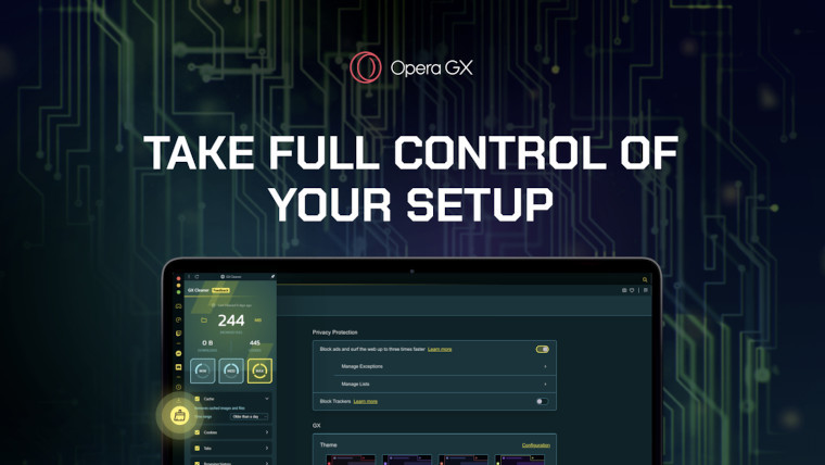 Opera GX graphic showing off new themes and GX Cleaner