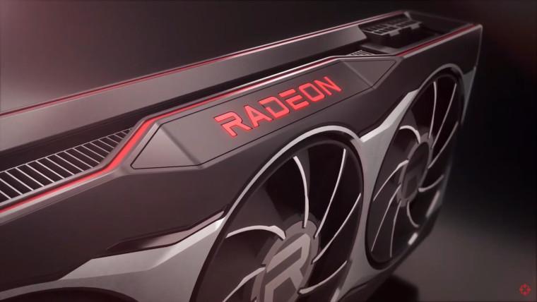 A closeup render of the side of a Radeon GPU