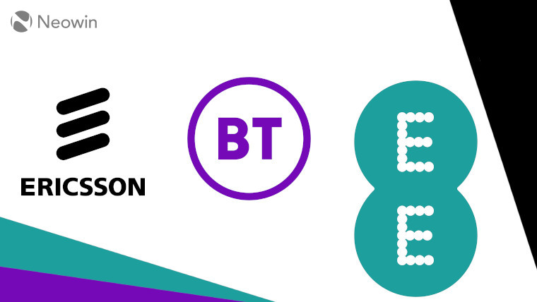 The Ericsson, BT, and EE logos on a white, black, turquiose, and purple background