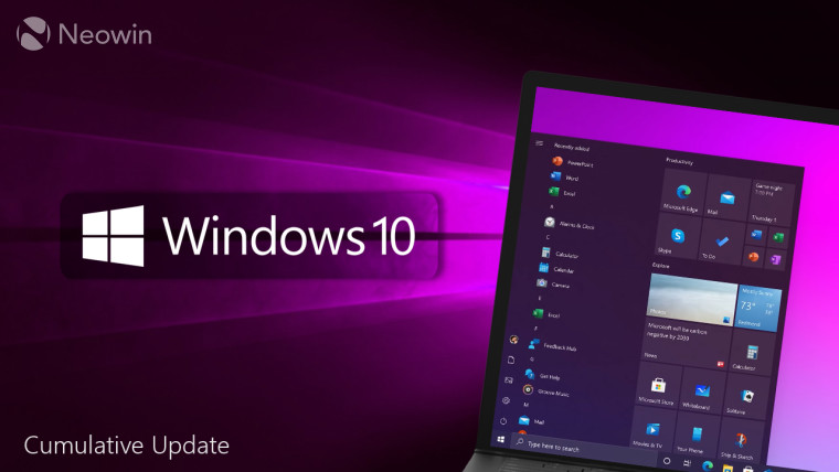 Windows 10 written next to a laptop with a Windows 10 Start Screen open