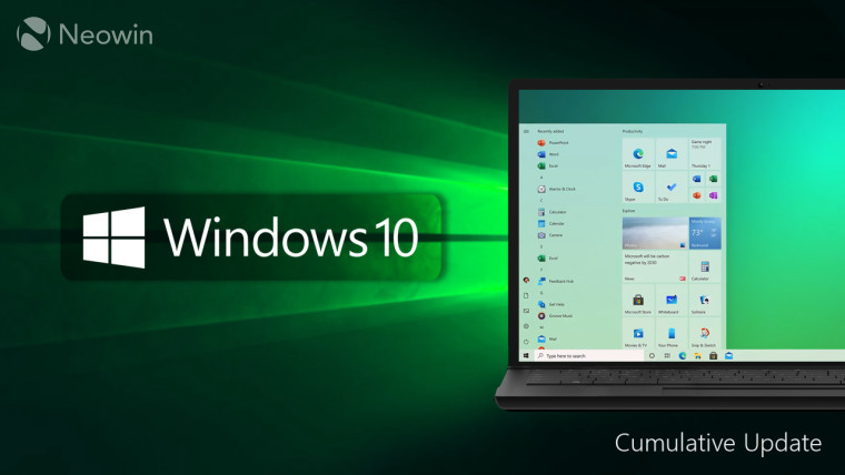 Windows 10 logo with a PC running the OS next to it over a green background